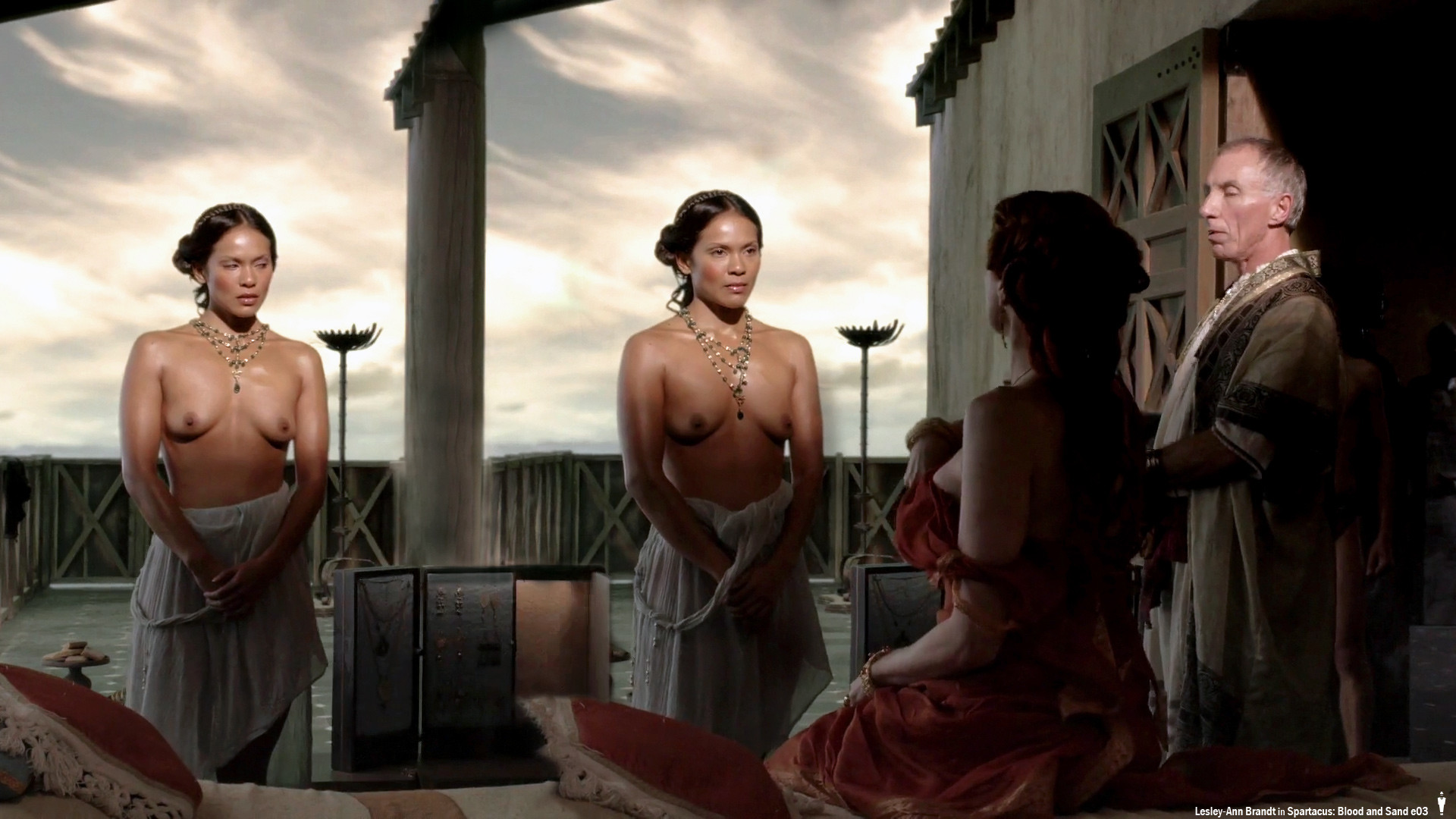 Lesley-Ann Brandt topless in Spartacus Gods of the Arena